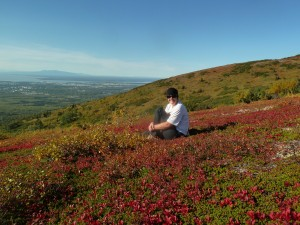 Me on Near Point, in the middle of blueberries!