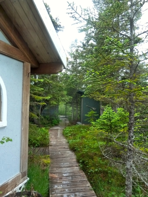 Outside our Cabin, Outhouse just a few steps away!