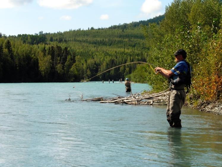 Fishing for rainbows at Russian River, AK
